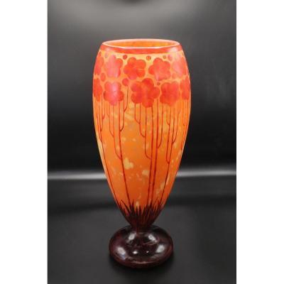 Le Verre Français.haut Vase Ovoïde.modèle Cardamines.art-déco.h 40,50cm