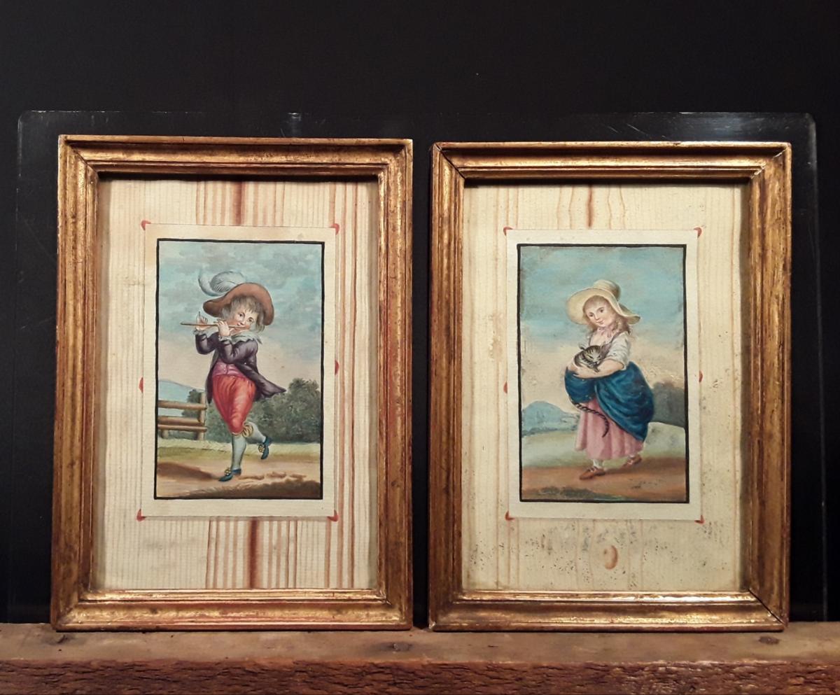 Paire De Trompe l'Oeil. Gouaches XVIII ème.