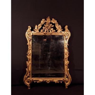 Miroir En Bois Doré d'époque Louis XV.