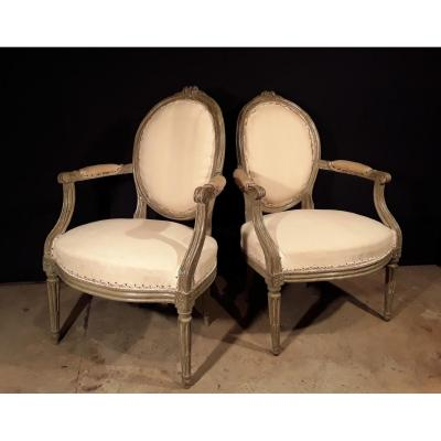 Pair Of Armchairs Lacquered Louis XVI.