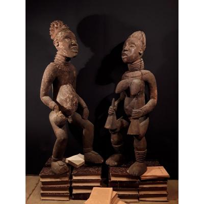 Two Great Statues. King And Princess Bangwa. Cameroon (130 Cm)