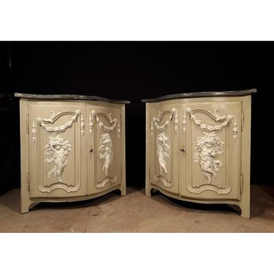 Pair Of Encoignures XVIII Th Decor Gypserie.