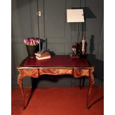 Flat Bureau In Louis XV Style Marquetry.