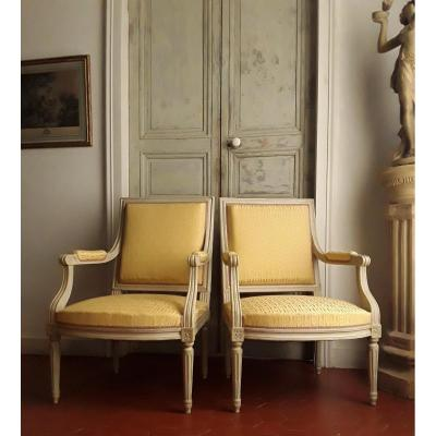 Large Pair Of Louis XVI Style Armchairs