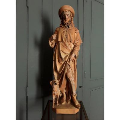"Sculpture ""St Roch"" en terre cuite."