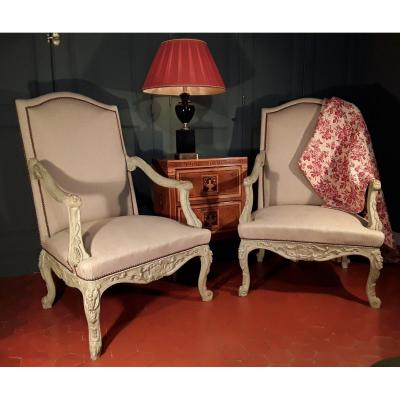 Large Pair Of Armchairs - Regency Style.