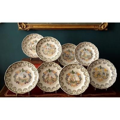 Eight Large Plates In Polychrome Earthenware.
