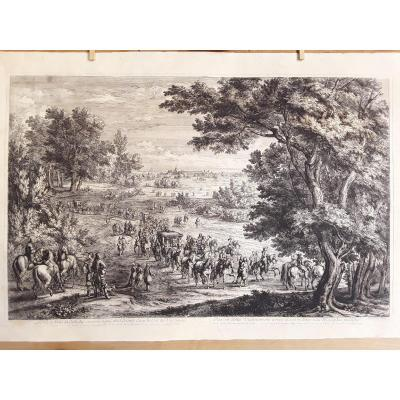 """the King At Vincennes"" Large Engraving Around 1670. (60 X 89 Cm)."