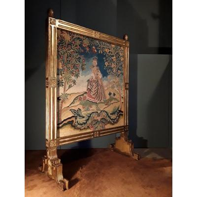 Large 18th Century Golden Wood Fireplace Screen.
