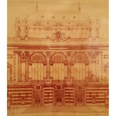 """Calque """" Façade du théâtre de Montpellier """" par l'architecte Cassien Bernard."""