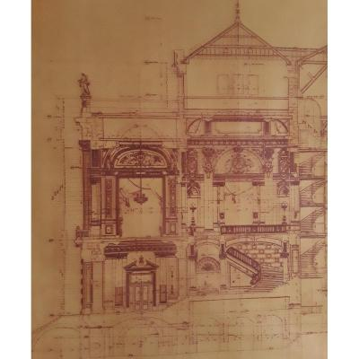 """Calque """" Coupe longitudinale du théâtre de Montpellier """" par l'architecte Cassien Bernard."""