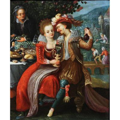 Le Banquet, Attribué à Louis De Caullery (1580-1621), Huile Sur Cuivre, Anvers