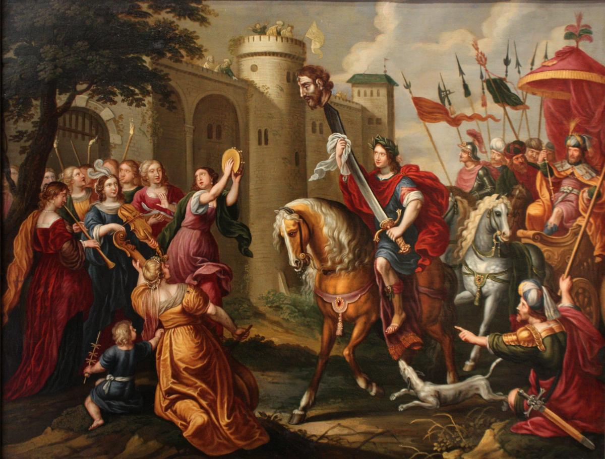 Triumph Of David - Oil On Copper 17th Century Attributed To Peter Sion