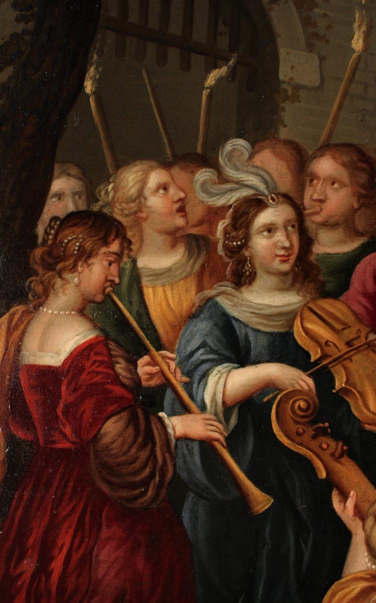 Triomphe De David - Huile Sur Cuivre Du XVIIe Siècle Attribué à Peter Sion