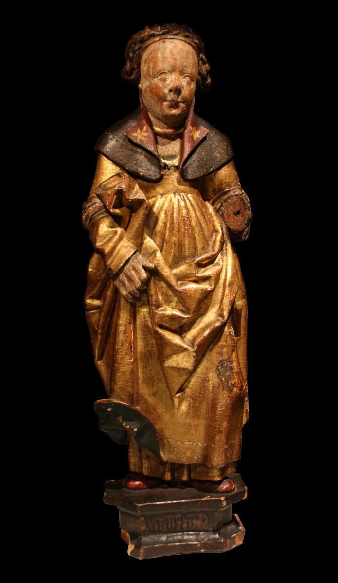 Sainte Ursule En Bois Sculpté Doré, Polychromé, Flandres Fin Du XVe Début Du XVIe