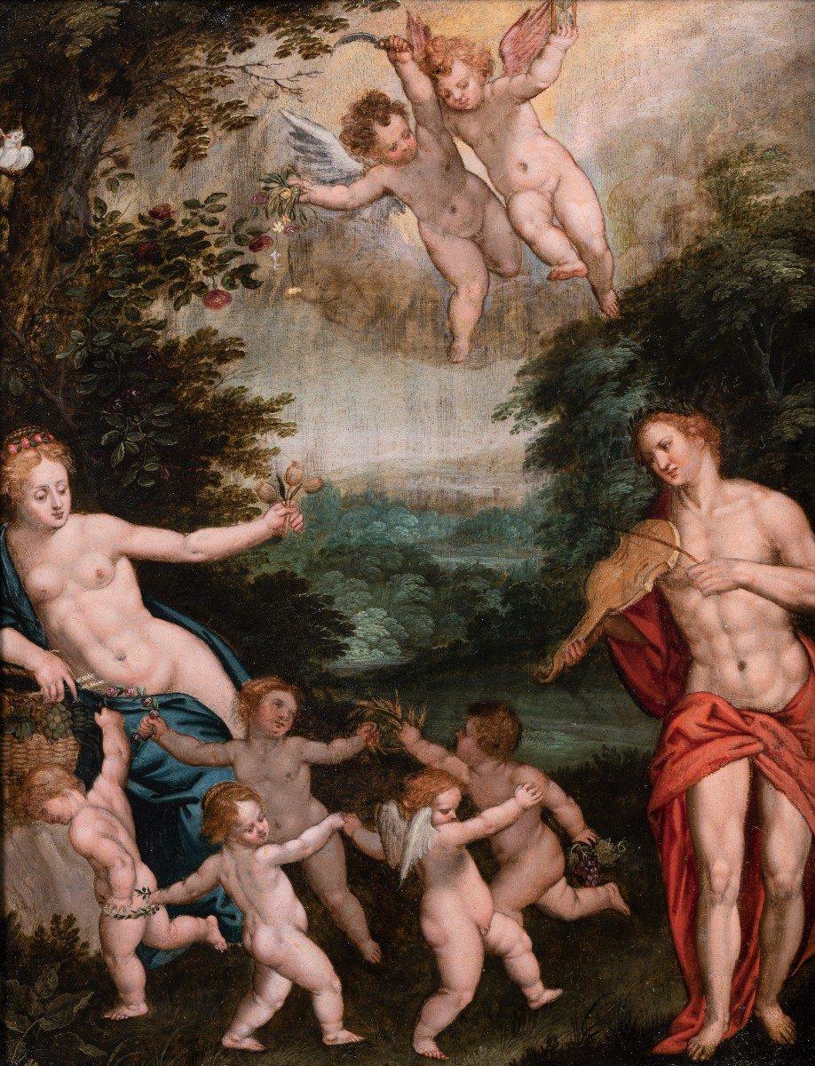 Allégorie De L'amour, Attribué à Hendrick De Clerck, XVIIe Siecle-photo-2