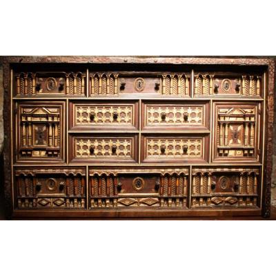 Cabinet Bargueno Aux Incrustations d'Os, Espagne, XVIIème