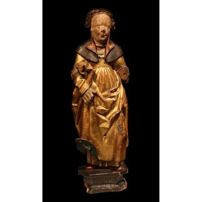 Late 15th Early 16th Flemish Wood Carving Of St Ursula