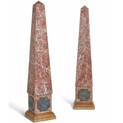 Paire De Grands Obélisques En Marbre, h. 170 cm, XIXème