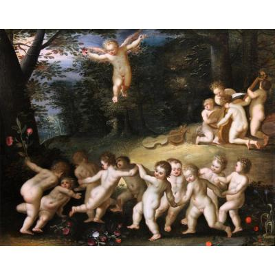 Putti Dancing, Oil On Panel, Hendrick Van Balen Attr., 17th Century