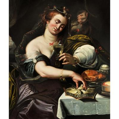 Allegory Of Taste, Attributed To A. Janssens (antwerp, 1575-1632), 17th Century