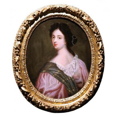 A 17th C. Portrait Of Mme De Maintenon, Follower Of Pierre Mignard