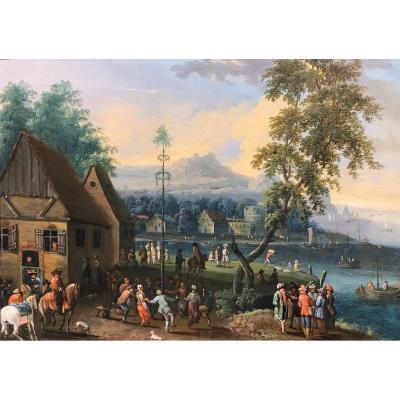 La Fête De L'arbre De Mai, Attribué A Mathys Schoevaerdts (1665-1702)