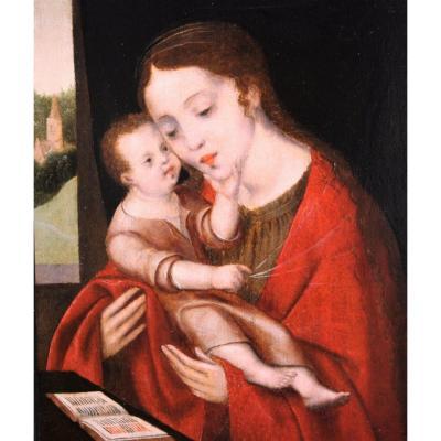 Vierge à l'Enfant - école Anversoise Du XVIe Siecle, Entourage De Cornelis Van Cleve