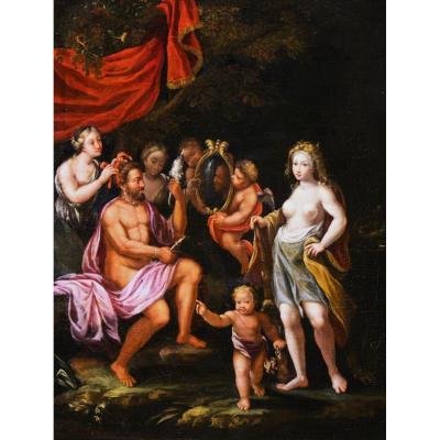 Hercule Et Omphale, école De Vérone, Debut Du XVIIe Siecle