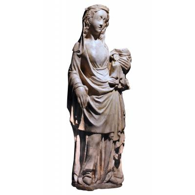 A Mid-14th C. Stone Figure Of Virgin And Child