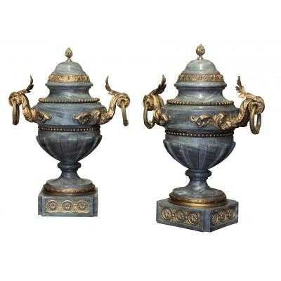 A Napoleon III Turquin Blue Marble And Ormolu Vases