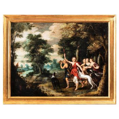 Diane Avec Ses Nymphes, Attribué à Frans Wouters, XVIIe Siècle