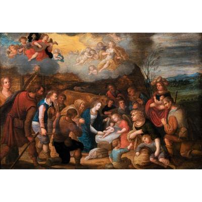 Adoration Des Bergers, Atelier De L. De Caullery, Début Du XVIIe Siecle