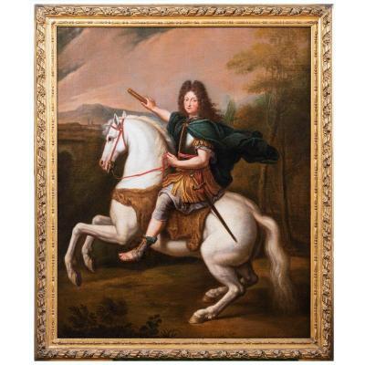 Equestrian Portrait Of Philippe d'Orleans, Workshop Of Pierre Mignard