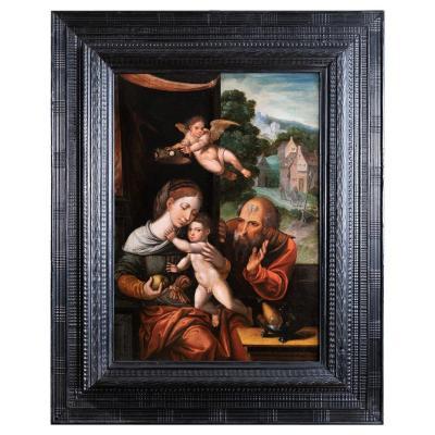 Sainte Famille Avec Un Ange, Atelier De Pieter Coecke Van Aelst (1502-1550)