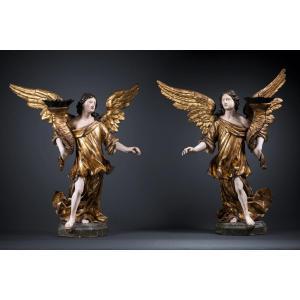 Paire D'anges Céroféraires, XVIIe Siècle Italie Du Nord