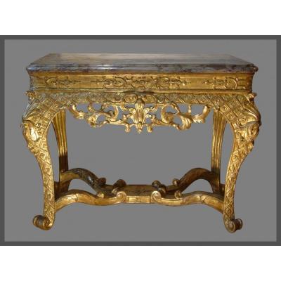 Table-console En Bois Doré d'époque Régence