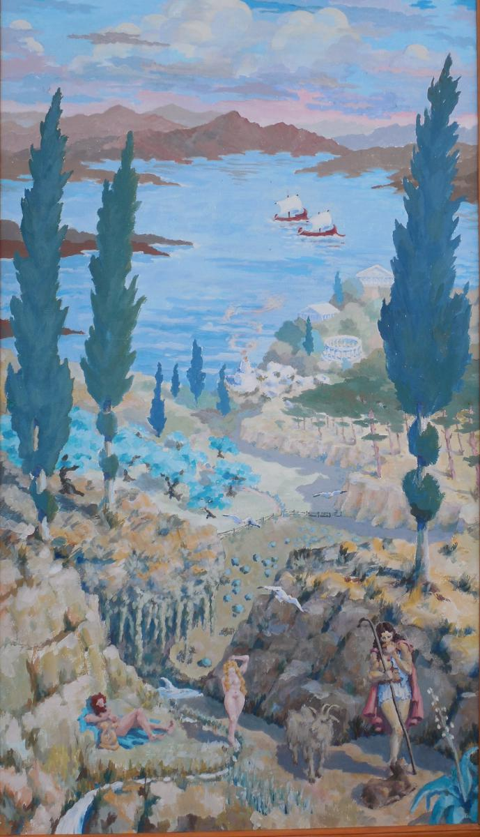 The Garden Of Eden, The Decorative Panel Gouache, Signed Bernadat