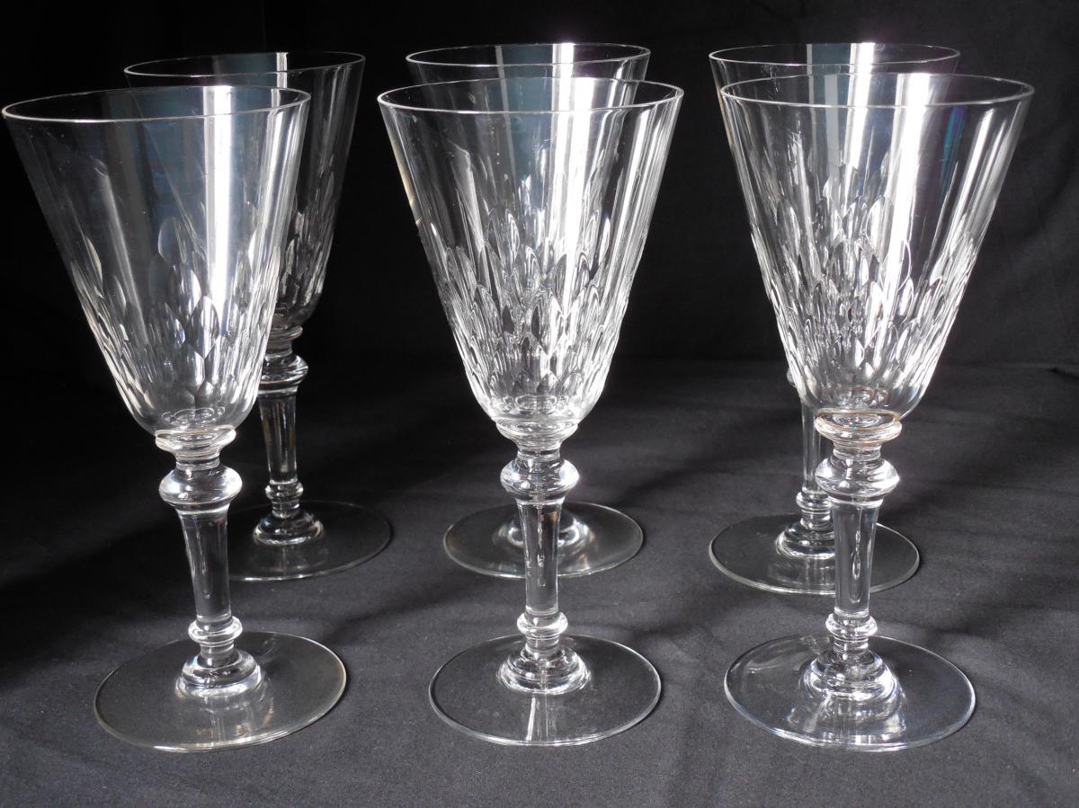 6 Verres à Eau En Cristal Baccarat Fin XIXème
