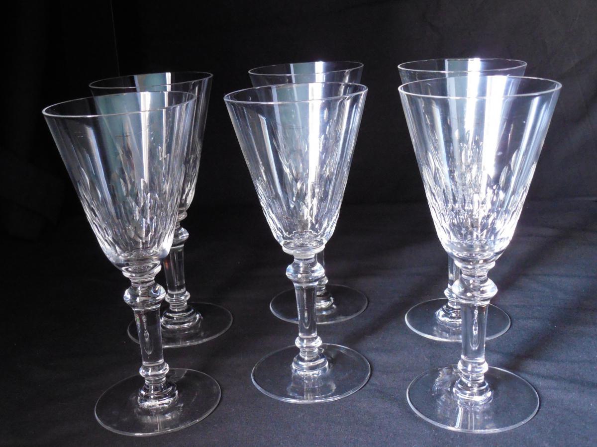 6 Verres à Vin rouge En Cristal Baccarat Fin XIXème