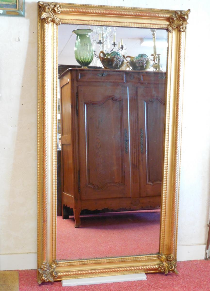 Miroir rectangulaire en bois et stuc dor poque niii for Miroir dore rectangulaire