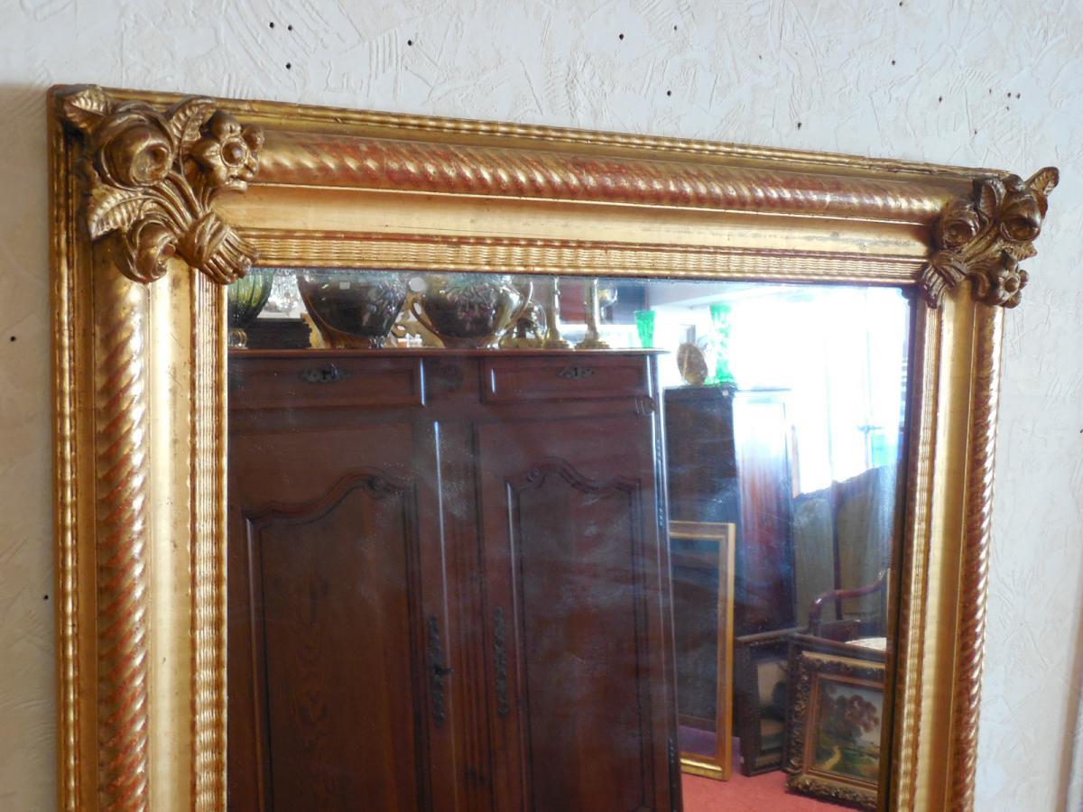 Miroir rectangulaire en bois et stuc dor poque niii miroirs for Miroir dore rectangulaire