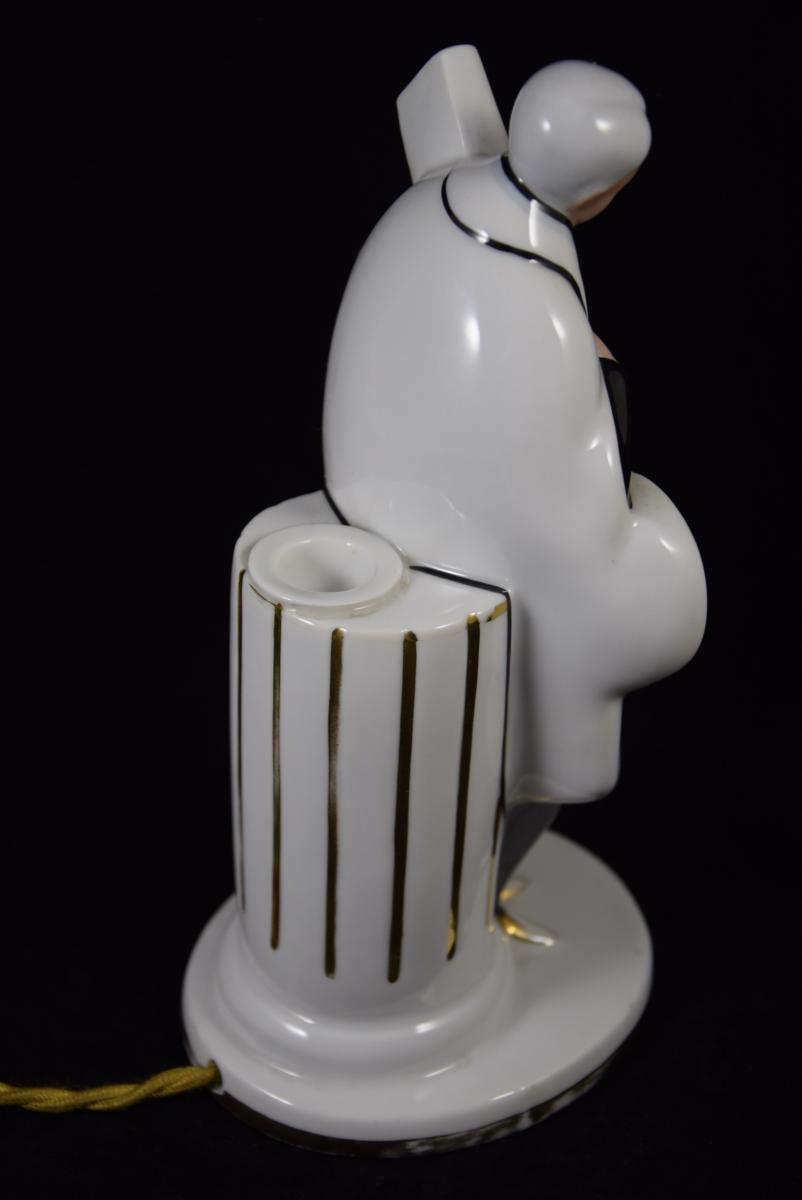 """Veilleuse - Brûle  Parfum""""La clef des songes"""",Porcelaine de Limoges vers 1950.-photo-1"""