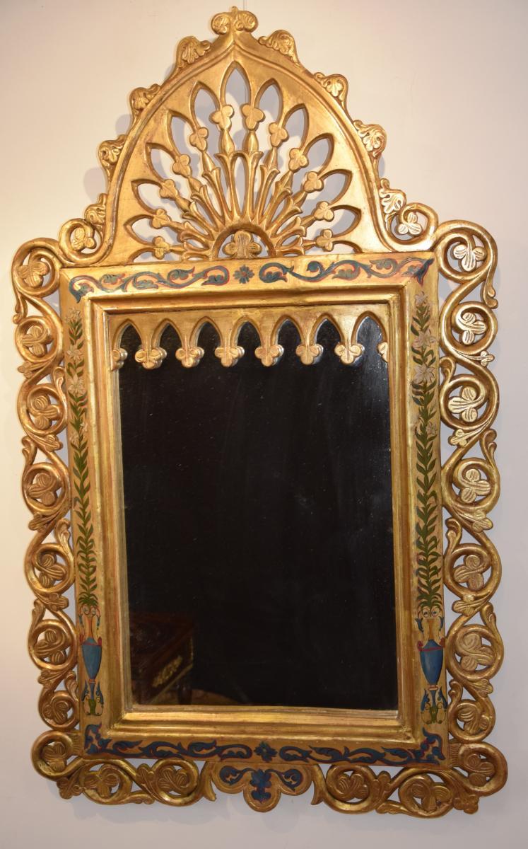 Miroir De Style Mauresque,bois Doré Et Polychromie,XIXème
