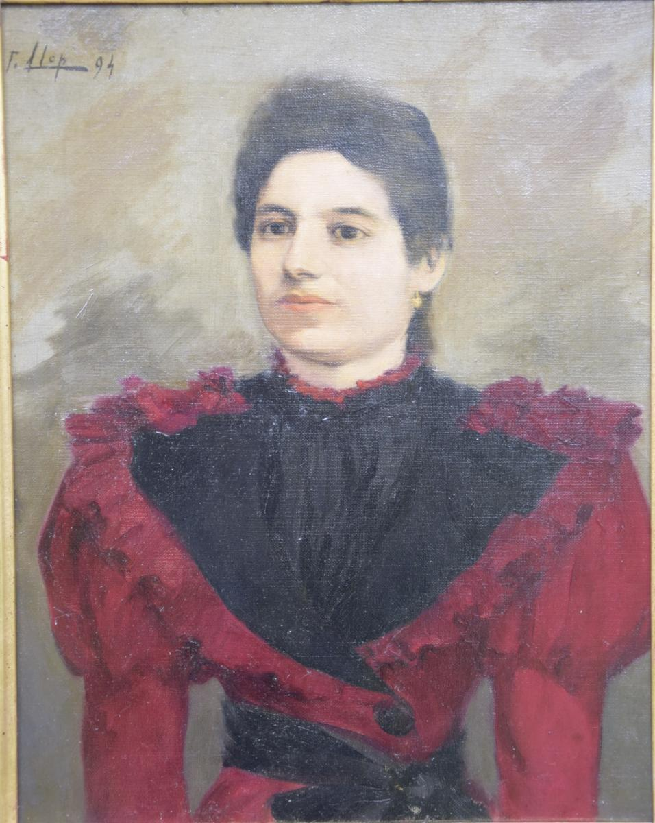"""F. Llop (1875-1970), """"lady At The Red Dress, Hst, Spanish School-photo-2"""