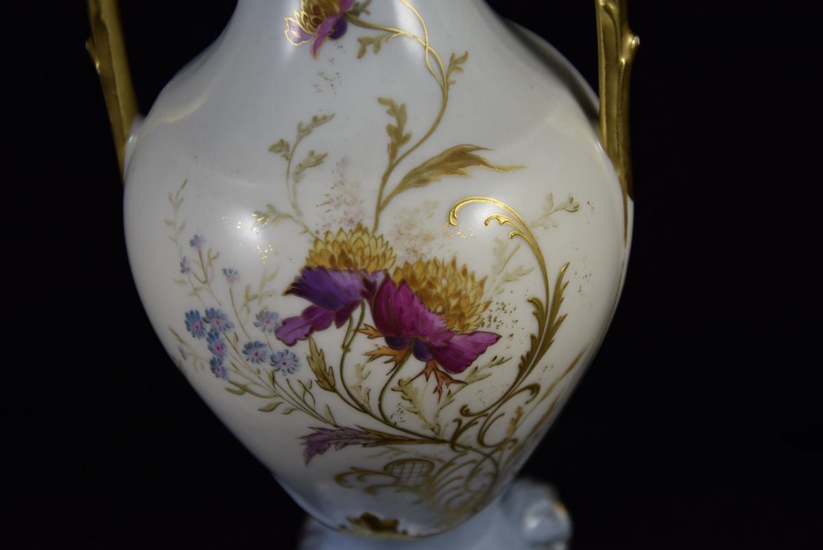 Vase en porcelaine de Limoges,manufacture William Guérin vers1900-photo-3