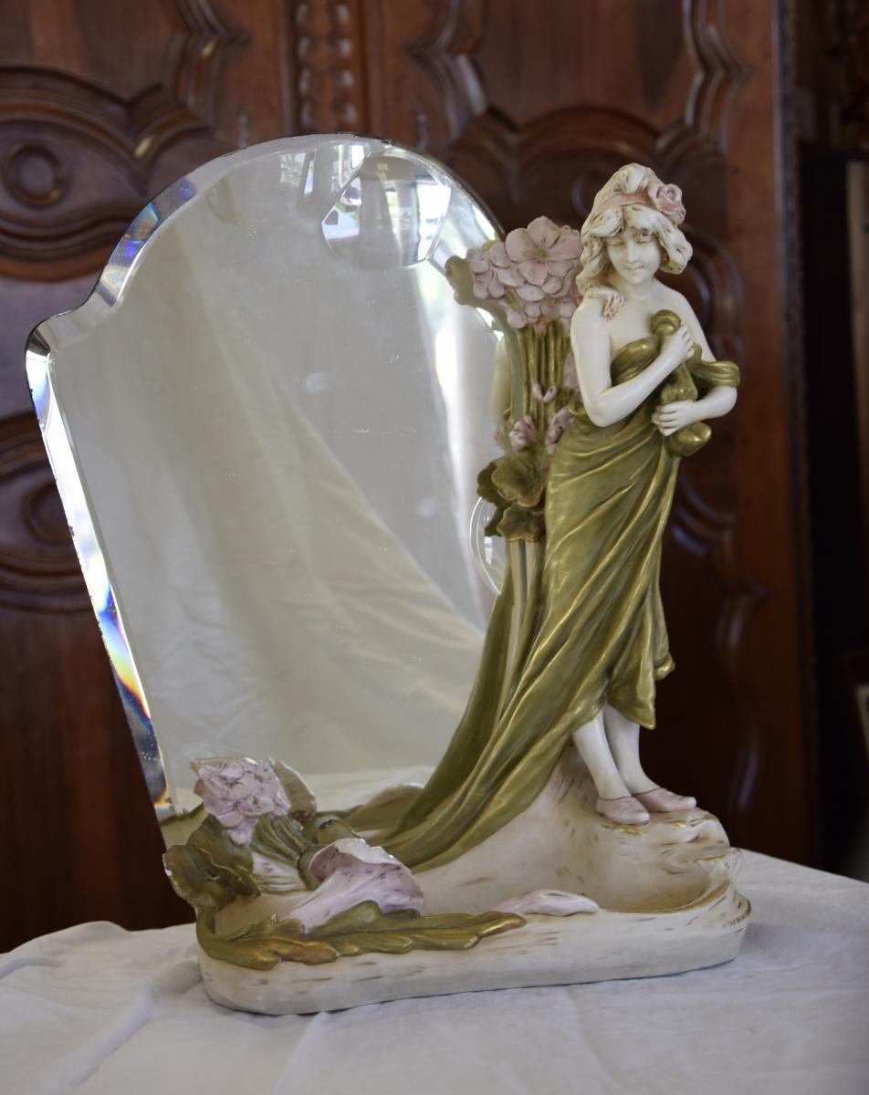 Miroir  Art Nouveau , Porcelaine Royal Dux signée H.kieweg