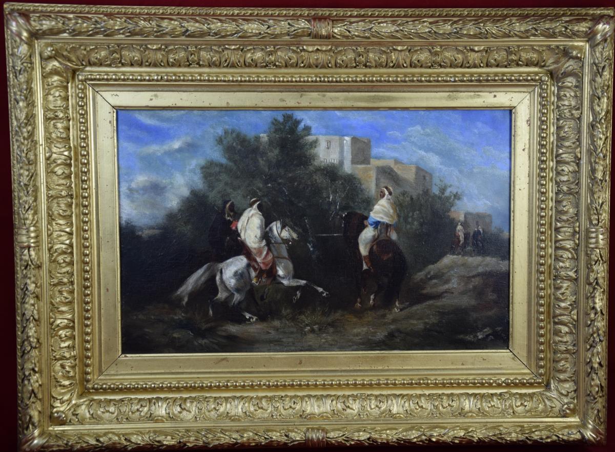 """Victor Huguet (1835-1902)   """"La halte des cavaliers """" huile sur panneau"""