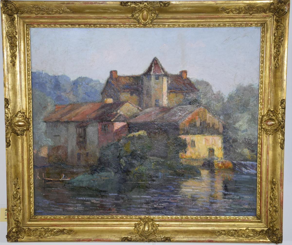 """Emile Chaumont (1877-1927) """"le moulin des Mounards à Trélissac"""" Hst."""