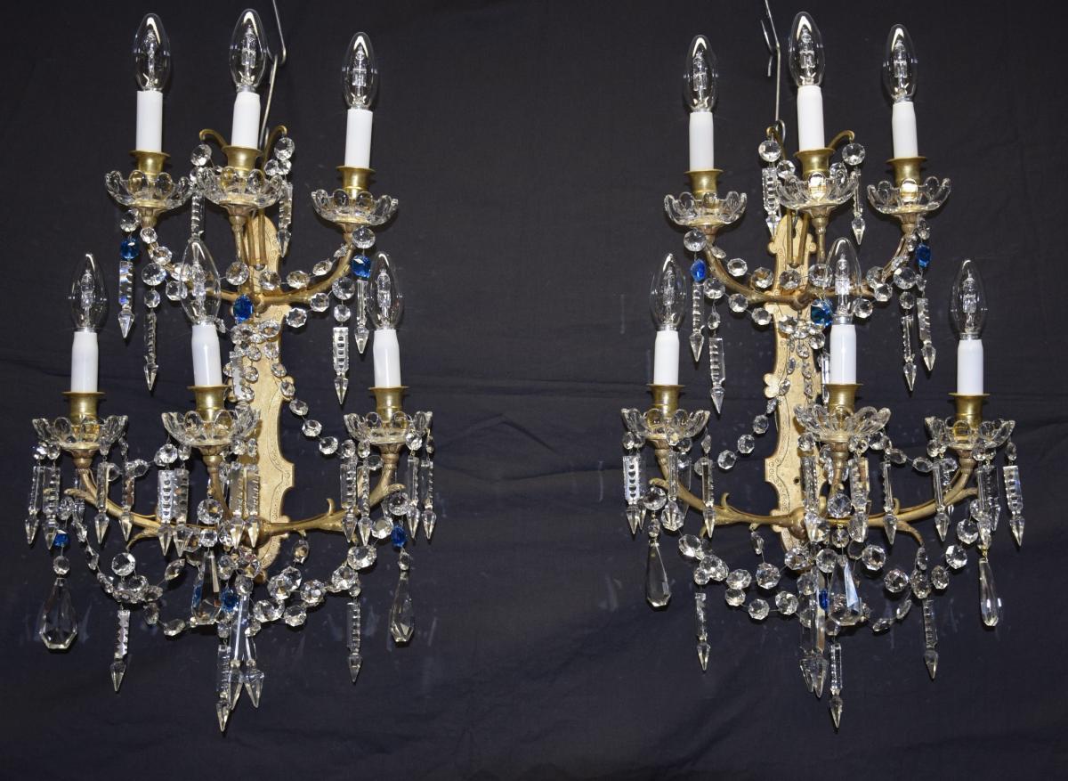 Paire d'appliques en bronze et cristal Baccarat,6 feux,vers 1900